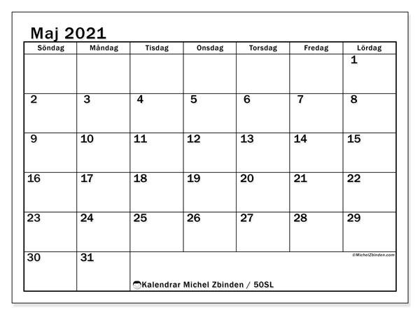 Kalender maj 2021, 50SL. Almanak för att skriva ut gratis.