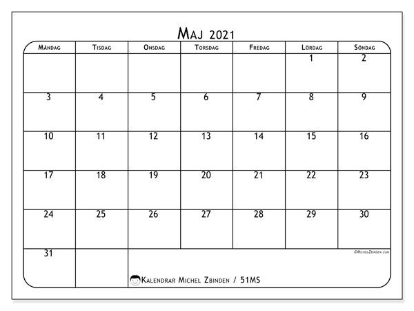 Kalender maj 2021, 51MS. Gratis utskrivbara kalender.
