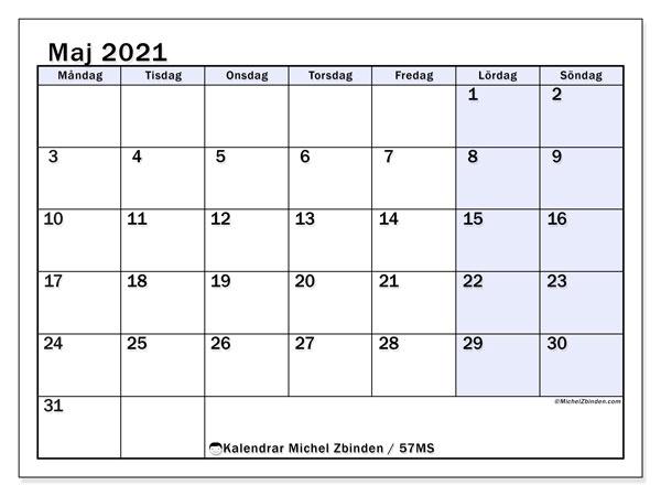 Kalender maj 2021, 57MS. Almanak för att skriva ut gratis.