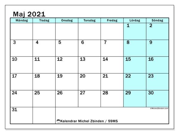 Kalender maj 2021, 59MS. Schema för att skriva ut gratis.