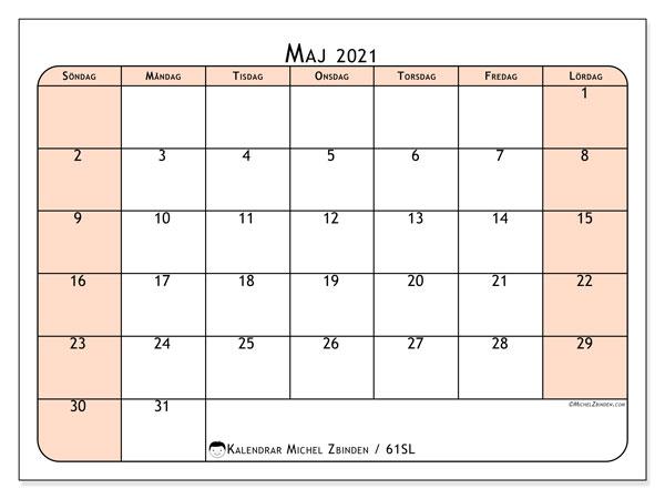 Kalender maj 2021, 61SL. Gratis kalender att skriva ut.