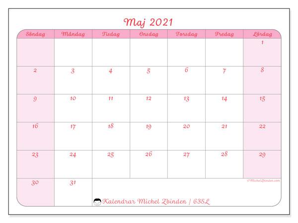 Kalender maj 2021, 63SL. Kalender för året att skriva ut gratis.