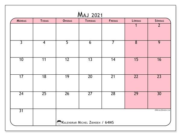 Kalender maj 2021, 64MS. Almanak för att skriva ut gratis.