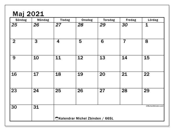 Kalender maj 2021, 66SL. Kalender för året att skriva ut gratis.