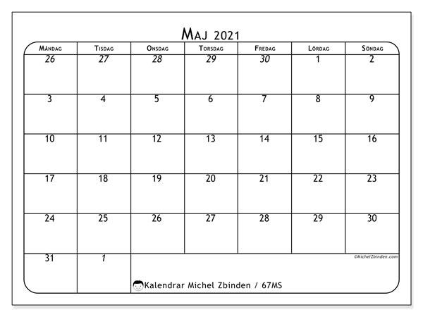 Kalender maj 2021, 67MS. Schema för att skriva ut gratis.