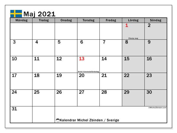 Kalender maj 2021, med semester i Sverige. Kalender Semester att skriva ut gratis.