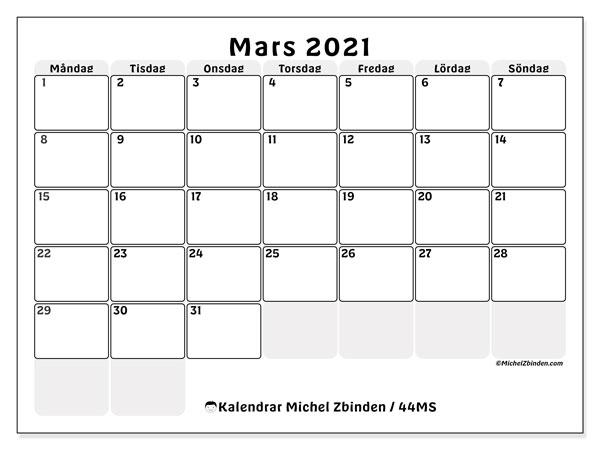 Kalender mars 2021, 44MS. Kalender för året att skriva ut gratis.