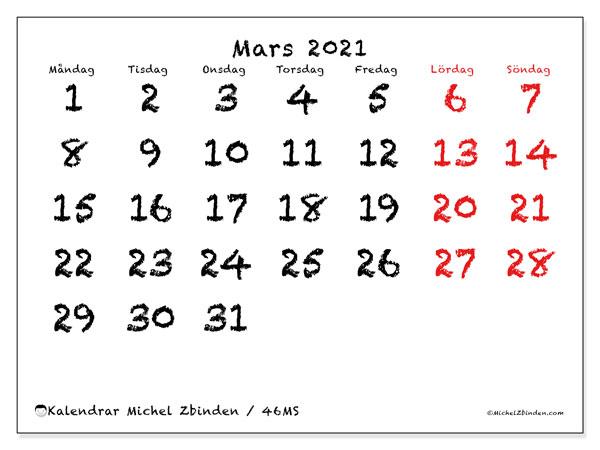 Kalender mars 2021, 46MS. Månadskalender för att skriva ut gratis.