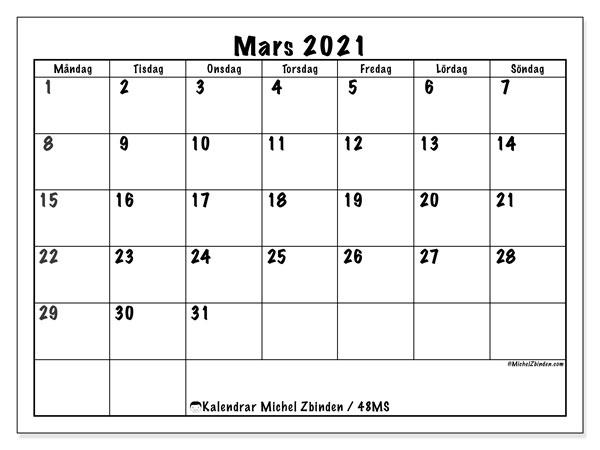 Kalender mars 2021, 48MS. Schema för att skriva ut gratis.