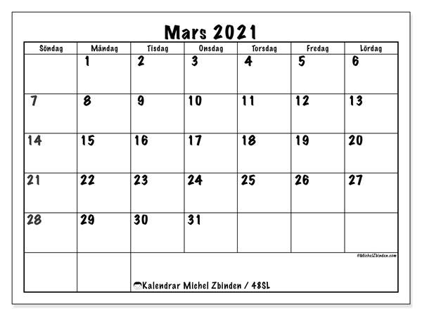 Kalender mars 2021, 48SL. Gratis kalender att skriva ut.