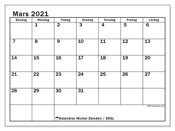 Kalender mars 2021, 50SL. Gratis utskrivbara kalender.