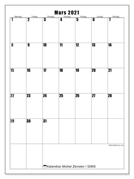 Kalender mars 2021, 52MS. Månadskalender för att skriva ut gratis.
