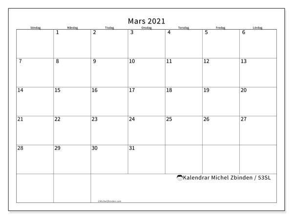 Kalender mars 2021, 53SL. Kalender för året att skriva ut gratis.