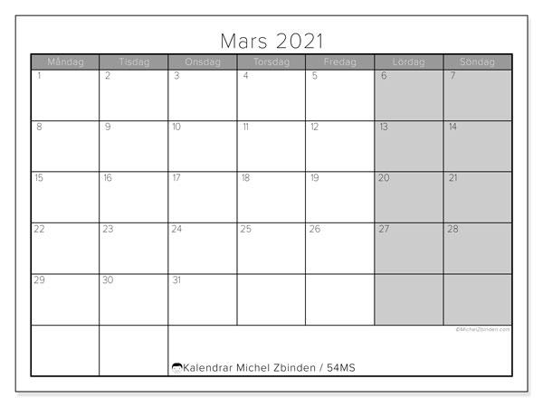 Kalender mars 2021, 54MS. Kalender för gratis utskrift.