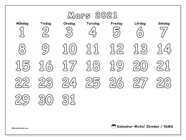Kalender mars 2021, 56MS. Kalender för gratis utskrift.