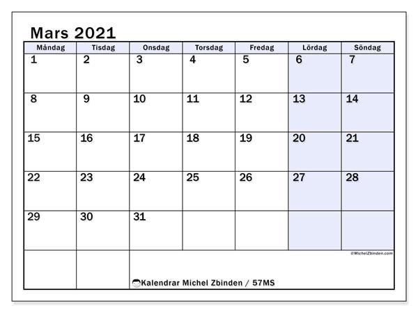 Kalender mars 2021, 57MS. Kalender för gratis utskrift.