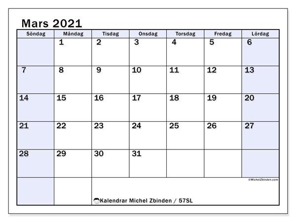Kalender mars 2021, 57SL. Kalender för att skriva ut gratis.