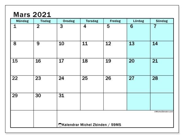 Kalender mars 2021, 59MS. Kalender för gratis utskrift.