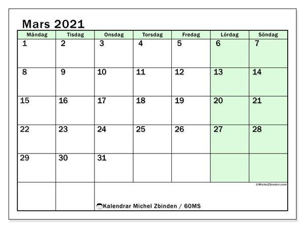 Kalender mars 2021, 60MS. Månadskalender för att skriva ut gratis.
