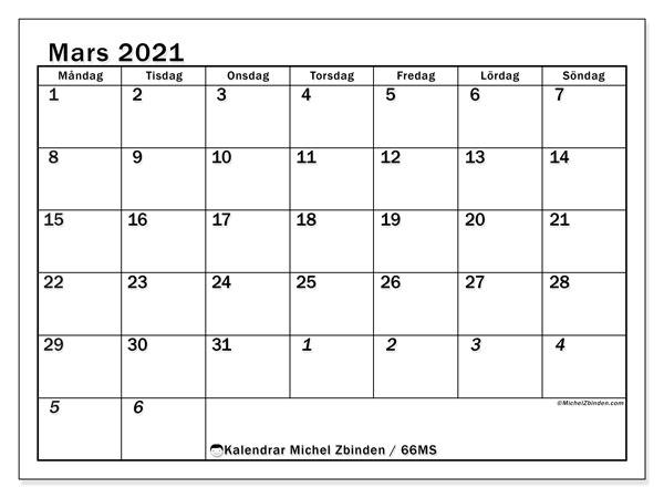 Kalender mars 2021, 66MS. Kalender för gratis utskrift.
