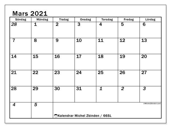 Kalender mars 2021, 66SL. Kalender för gratis utskrift.