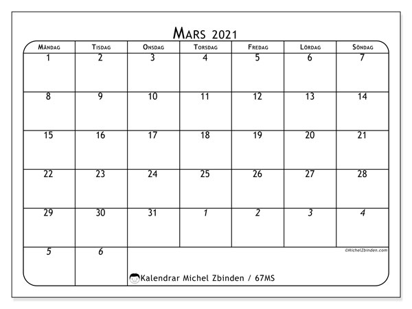 Kalender mars 2021, 67MS. Månadskalender för att skriva ut gratis.