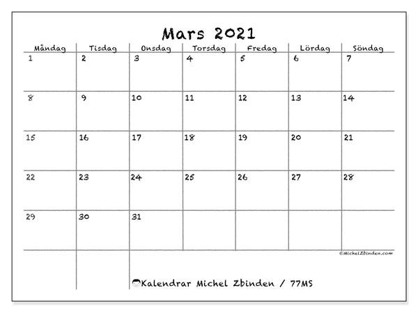 Kalender mars 2021, 77MS. Gratis utskrivbara kalender.