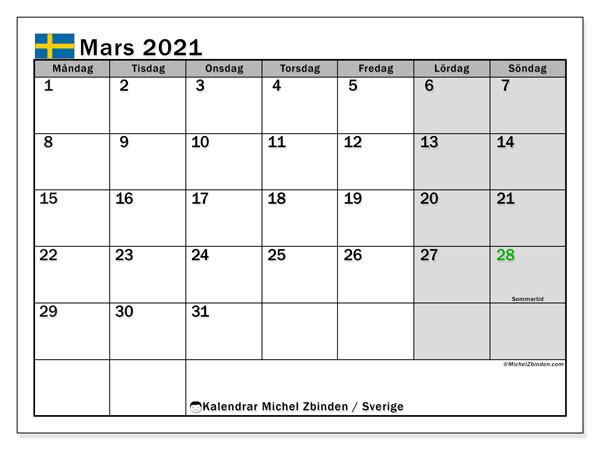 Kalender mars 2021, med semester i Sverige. Kalender för gratis utskrift med helgdagar.