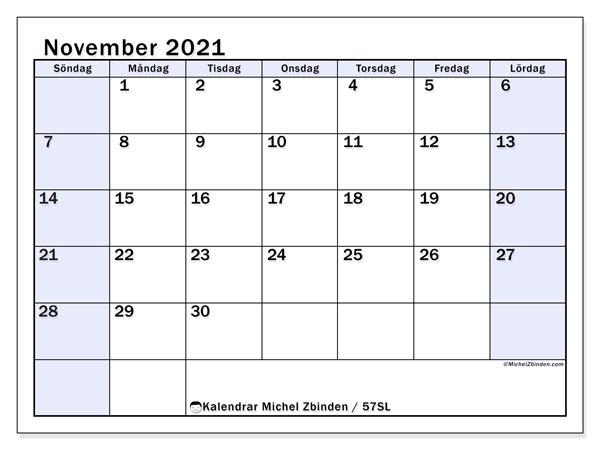 Kalender november 2021, 57SL. Schema för att skriva ut gratis.