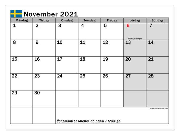 Kalender november 2021, med semester i Sverige. Kalender för gratis utskrift med helgdagar.
