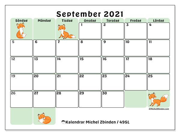 Kalender september 2021, 49SL. Gratis utskrivbara kalender.