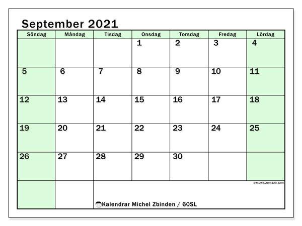 Kalender september 2021, 60SL. Gratis kalender att skriva ut.