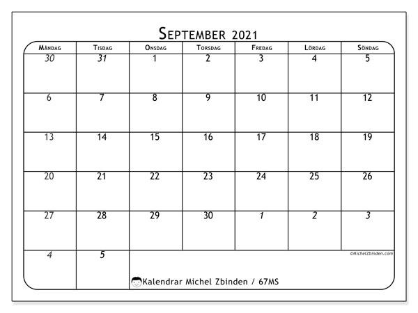 Kalender september 2021, 67MS. Almanak för att skriva ut gratis.