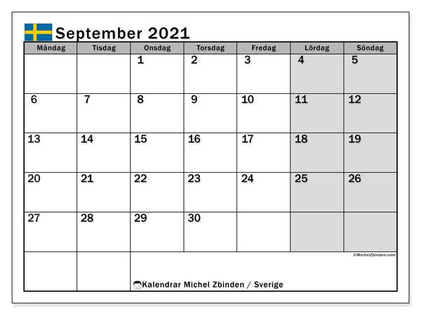 Kalender september 2021, med semester i Sverige. Kalender för gratis utskrift med helgdagar.