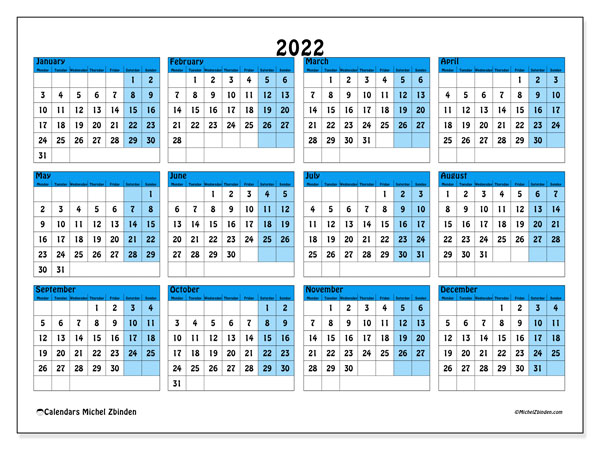 Printable calendars, Annuals 2022, Monday - Sunday