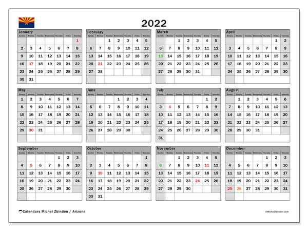 University Of Arizona Calendar 2022 23.Printable 2022 Arizona Calendar Michel Zbinden En