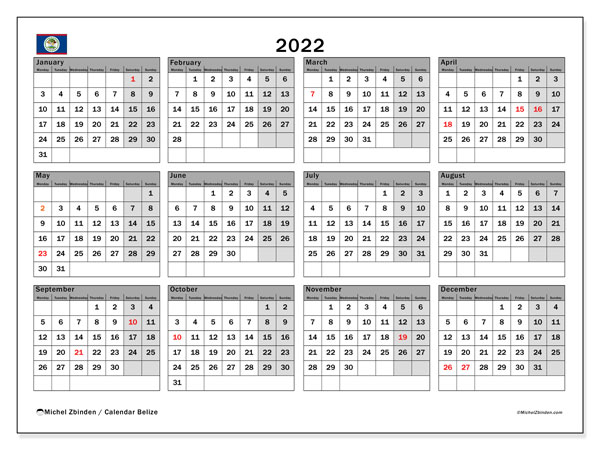 Printable 2022 Calendar, Belize