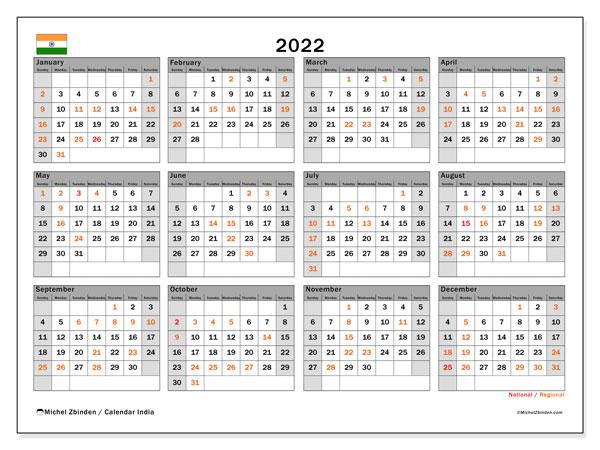 2022 2023 Calendar.Printable 2022 India Ss Calendar Michel Zbinden En