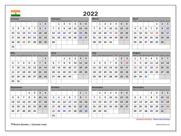 Indian Calendar 2022.Printable 2022 India Calendar Michel Zbinden En