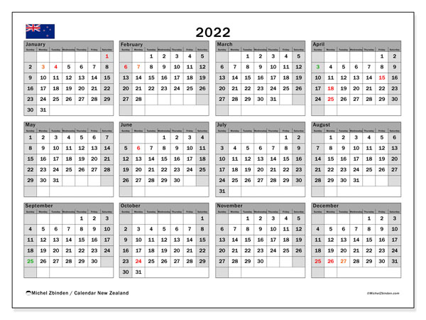 Printable 2022 Calendar, New Zealand (SS)