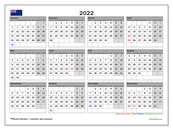 Printable 2022 Calendar, New Zealand (MS)