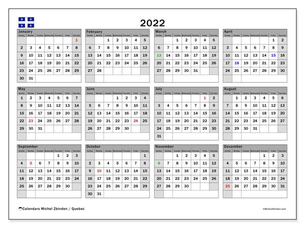 """Printable 2022 """"Quebec"""" Calendar - Michel Zbinden EN"""