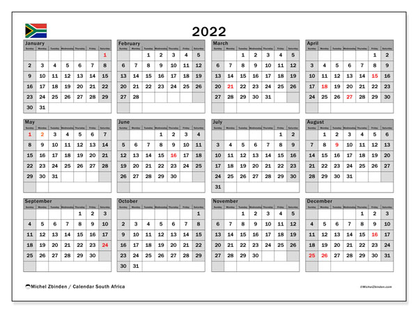 Printable 2022 Calendar, South Africa (SS)