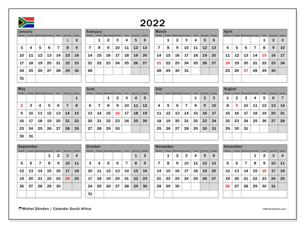 Printable 2022 Calendar, South Africa (MS)