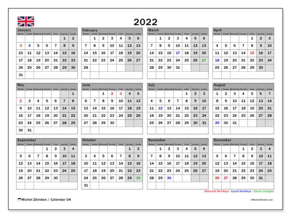 """Printable 2022 """"UK"""" Calendar - Michel Zbinden EN"""