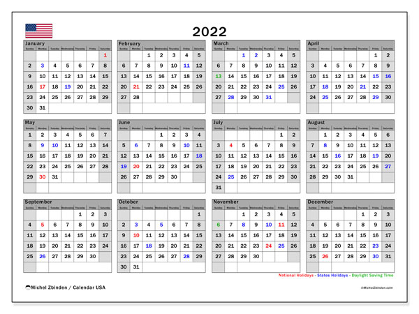 Printable calendars, Annuals 2022, Public Holidays