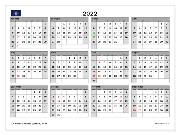 Utah Events Calendar 2022.Printable 2022 Utah Calendar Michel Zbinden En