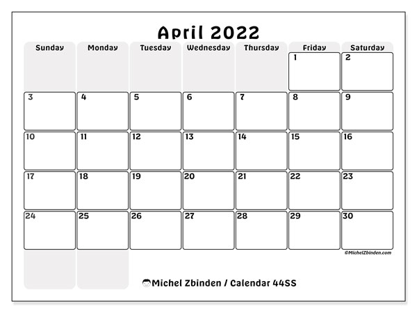 Printable calendar, April 2022, 44SS