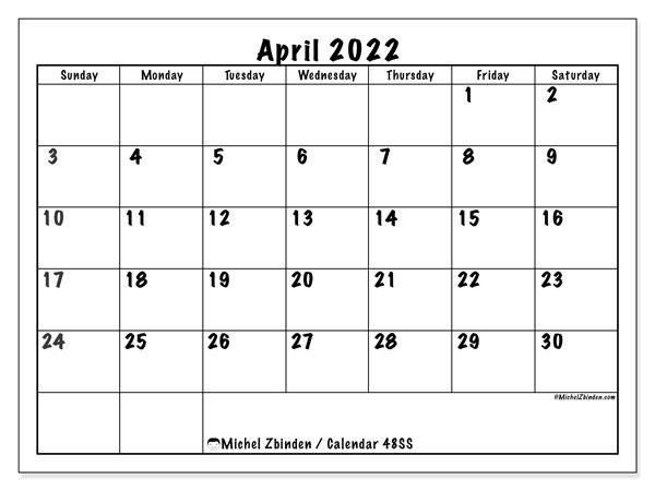 April 2022 Calendar Printable.Printable April 2022 48ss Calendar Michel Zbinden En
