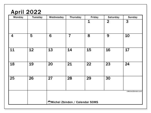 Apr 2022 Calendar.Printable April 2022 50ms Calendar Michel Zbinden En